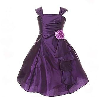 Pink Wings Girls Party Wear Knee Length Dress(PURPLATE01) (18-24 Months)