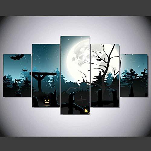 (Luziang Wandkunst ohne Frame Hd Micro Spray Moderne lebendige Hostel Home Dekoration Malerei fünf verknüpft Halloween,Verwendet für Wohnzimmerschlafzimmerwanddekoration)