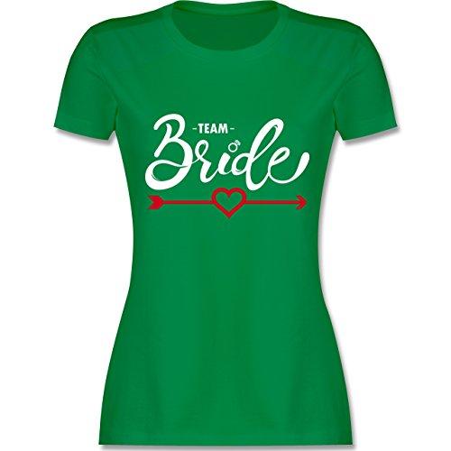 Grüner Girl Pfeil Kostüm - JGA Junggesellinnenabschied - Team Bride - Herz mit Pfeil - XL - Grün - L191 - Damen Tshirt und Frauen T-Shirt