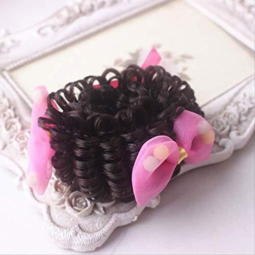 Pille Kostüm Baby - Kinder Perücke Ring Baby Pille Kopf Bogen Perücke Schmuck Prinzessin Altes Haar Ornament Locken Blume Haarschmuck D