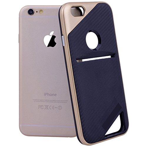 Yokata iPhone 6 / iPhone 6s Hülle Schwarz Soft Flexible Silikon Clear TPU Backcover + PC Plastik Harte Bumper Hardcase Dual Layer Schutzhülle Ultra Dünn Schlank Handyhülle Premium Kratzfest mit Karten Rose Gold