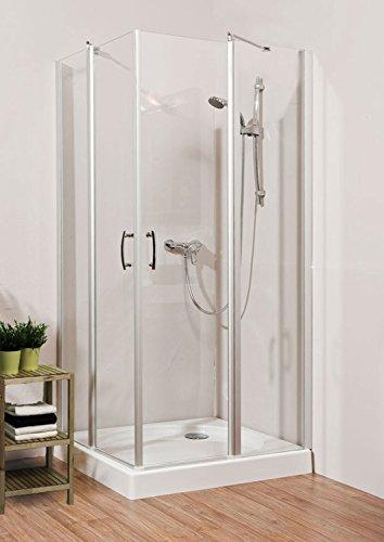duschtrennwand eckeinstieg Duschmeister Duschkabine Eckdusche Glass 5.0 Neo mit Pendeltür 90x90 cm 190 cm hoch Eckeinstieg quadratisch Glaswand Glasdusche