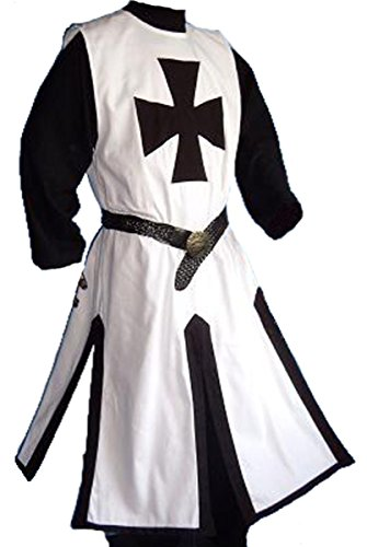 Dark Dreams Gothic Mittelalter LARP Waffenrock Ronaldo, Größe:M, Farbe:Weiss/schwarz