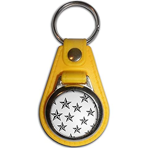 Nautical Stars - Yellow Plastic / Metal Medallion Coulor Key Ring