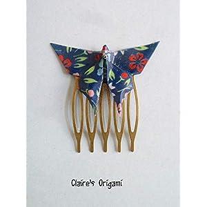 Blau und Rot Haarkamm Schmetterlinge Origami/im gefaltetem Japanisches Papier/Kupfer Metal/Handgemacht Geschenk für…