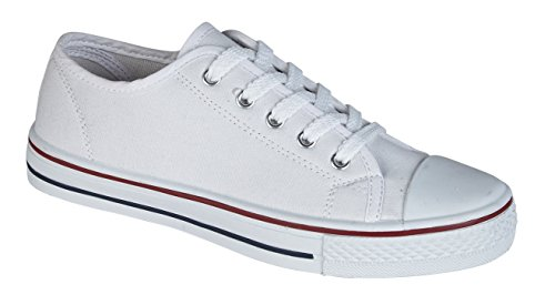 Lora Dora Boys Girls Kids Flat Lace Up Canvas Pumps Plimsoles Trainers Womens Childrens Sports Shoes Size  (1 UK) (White)