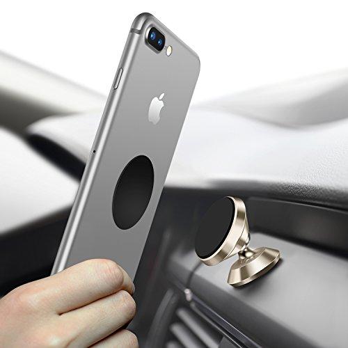 Universal Handyhalterung Auto Magnet, Humixx 360 °Einstellbare Smartphone Halterung Auto für iPhone 6 6s 7 7Plus, Samsung Galaxy S7 S8, HTC (Gold)