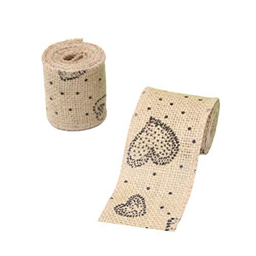 BESTOYARD Weihnachten Sackleinen Ribbon Rollen Wrapping Verpackung Dekorieren Crafting Leinen Bänder Weihnachtsschmuck (Herz) 2 Pcs
