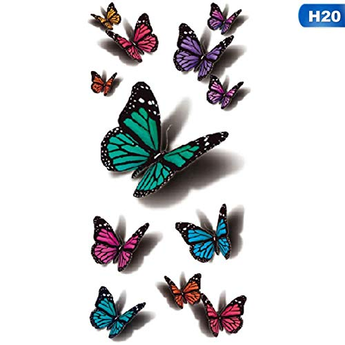 H20 Kostüm Halloween - renliyong 2019 Neue10 Stück 3D Schmetterling Tattoo Applique Body Art Applique Fliegenden Schmetterling Wasserdichtes Papier Temporäre Tätowierung Obst Tier Blume Tattoo @ H20