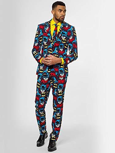 Opposuits Dark Knight Anzug für Herren besteht aus Sakko, Hose und Krawatte (Lustige Batman Kostüm)