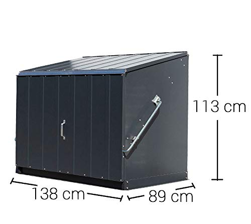 Trimetals Gerätebox, Aufbewahrungsbox, Multifunktionsbox, Fahrradbox Stowaway Anthrazit 138x89x113 cm (LxBxH); Multibox aus verzinktem Stahl - 7