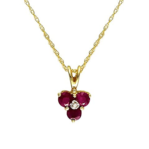 Ivy Gems 9ct Yellow Gold Ruby and Diamond Flower Pendant with 46cm Chain