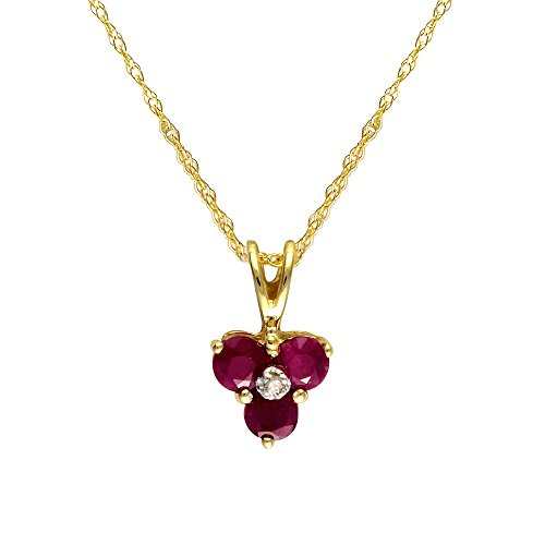 Ivy Gems Halskette mit Blumenanhänger Gelbgold 9Karat (375) Rubin Diamant 46cm