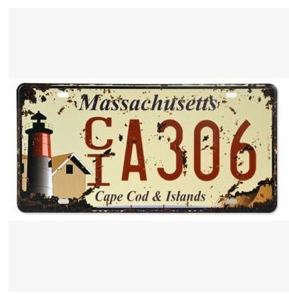 """MASSACHUSETTS CT A306 Cape Cod & Istands Vintage Auto License Plate, Embossed Tag Size 6"""" X 12"""" by sweet house"""