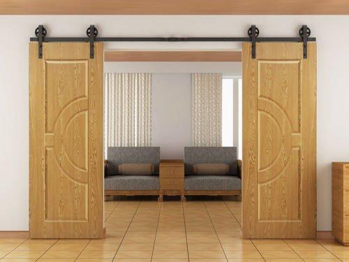 hahaemall 3m/3.05m moderno rustico doppio scorrevole fienile in legno porta scorrimento set kit con guide in acciaio nero