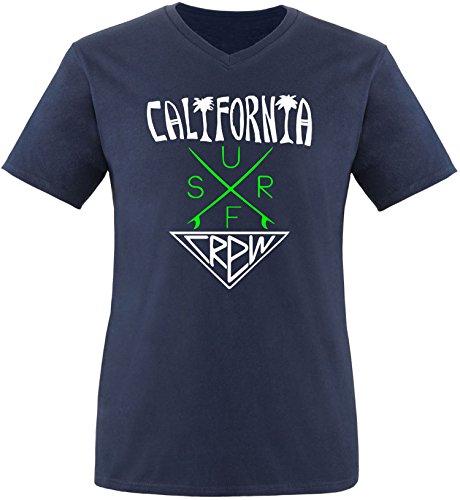 EZYshirt® California Surf Crew Herren V-Neck T-Shirt Navy/Weiss/Neongr