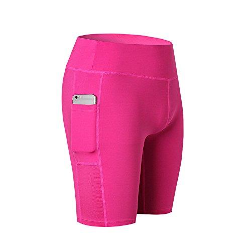 SwissWell Damen Joggen Shorts Sport Kurze Leggings Fitness Tights Yoga Shorts Kurze Hosen Mesh Radlerhose Hot Pants Hipster Workout mit Taschen Pink 2XL -
