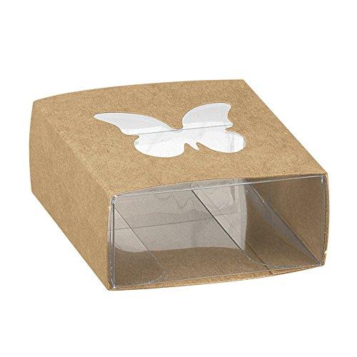 10er-Set Kartonage Schmetterling, vintage, natur - Gastgeschenk Verpackung aus Kraftpapier für Gastgeschenke zur Hochzeit, Taufe oder Kommunion