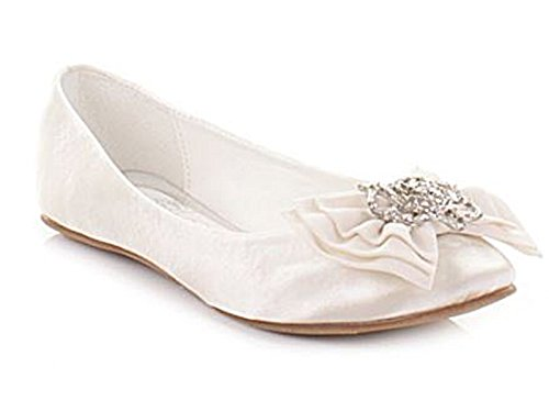 635db23d4e WOMENS LADIES GIRLS LOW HEEL FLAT SATIN BALLET PUMPS DIAMANTE BROACH BOW  BRIDAL PROM WEDDING SHOES IVORY CREAM SIZE 4 - Buy Online in Oman.