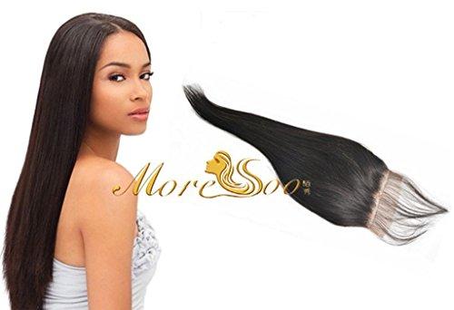 Moresoo 14pouces/35cm Free Part Top Lace Closure avec Bebe Cheveux Tissage Bresilienne Vierge Lisse Meche Bresilienne Humains Closure 3.5*4 Naturel Noir