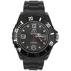 Mabz london Unisex Black Dial rubber Bracelet Ice style Watch