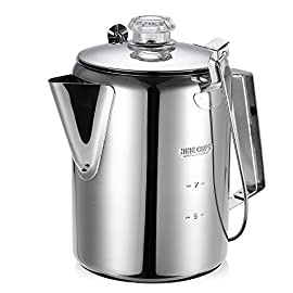 Lixada Outdoor Stainless Steel Percolator Coffee Pot Coffee Maker for Camping Home Kitchen.