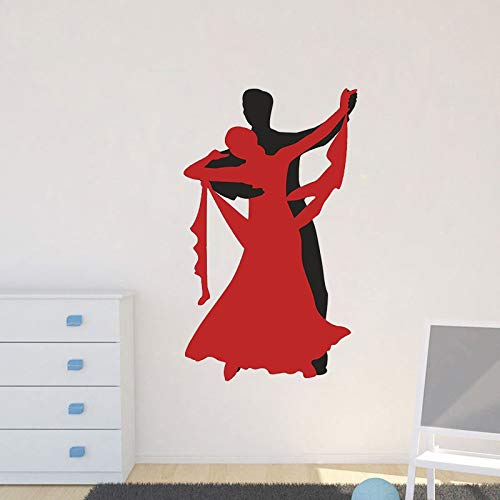 zhuziji Poster Dancing Couple Wall Poster Vinyl Wall Stickers for Bedroom Poster Home Decor Stickers Nursery Dance Studio Deco 57x34cm Deco-dessert