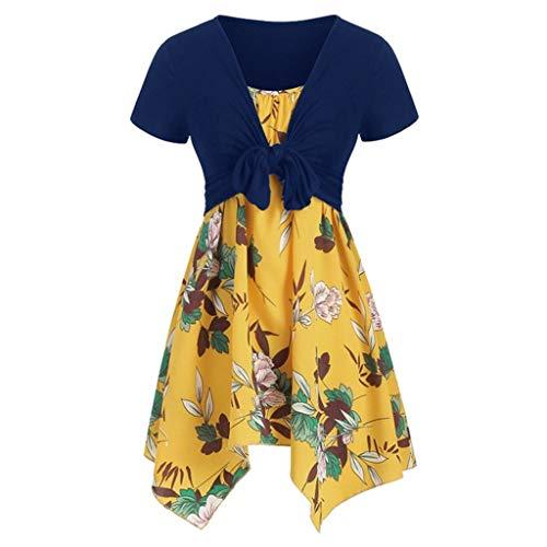 AZZRA Frauen-Sommer-frische Blumen-Druck-Kleid-Riemen-Set Cardigan Zweiteiliges Set Kleid Kurzarm Casual Tops langeshirt elegant aus Spitzen Ärmellos unregelmässig -