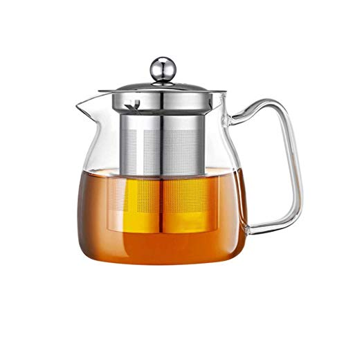 THBEIBEI Teekanne Transparente High Boron 304 Edelstahl Liner kann durch offene Flamme oder Elektro-Keramik-Ofen erhitzt Werden (Color : Clear, Size : 500ml)