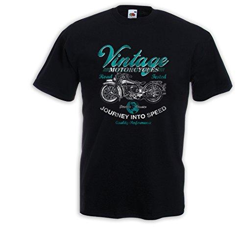 Biker T-Shirt Vintage Motorcycles Chopper Bike Kustom Rockabilly USA Schwarz