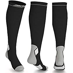 Compression Socks for Women and Men | Best Graduated Athletic Fit Sock Calf Running Sports, Shin Splints, Varicose Veins, Maternity Pregnancy, Nurses Medical Work, Flight Travel Stockings - S/M Grey