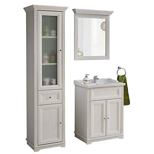 Jadella Badmöbel Set \' Nevio 4 TLG \' Waschbecken Spiegel Unterschrank 60cm Weiße Pinie Landhaus