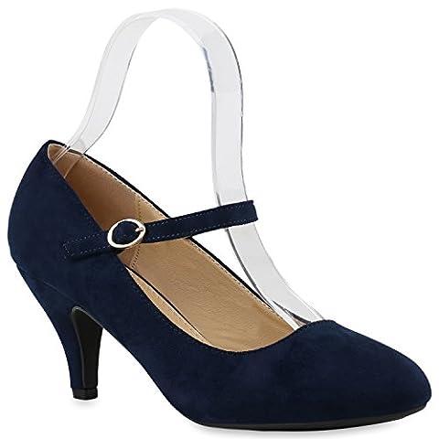 Klassische Damen Pumps Spitze High Heels Basic Stiletto Riemchenpumps Kroko Print Schuhe 144730 Dunkelblau Schnalle 41 | Flandell®