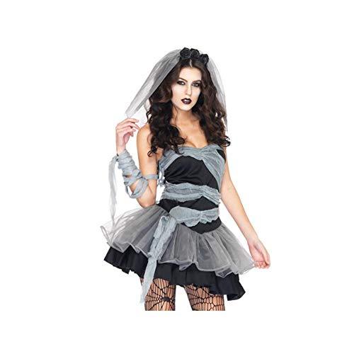 (YaXuan Frau Kostüm, Halloween Role Play Dressing Uniform Komplette Outfit Kostüm, Teufel Vampir Zombie Ghost Braut Kostüm (Farbe : Gray-Black, Größe : L))