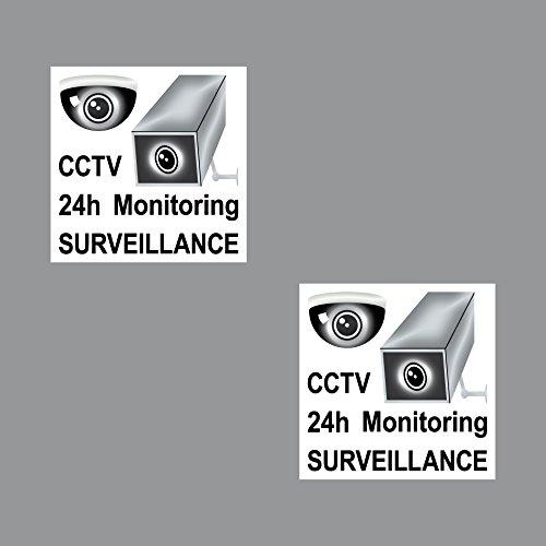 2 Sticker 7cm Aufkleber Video Überwachung Attention Note Surveillance 24hour CCTV Monitoring Video Recording System Video-recording-system