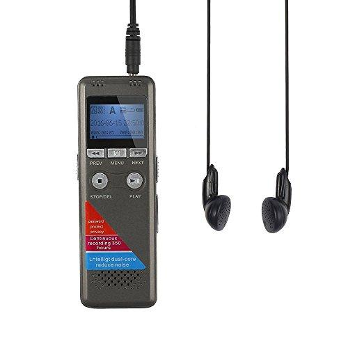 ESYNiC Registratore Vocale Digitale - 8GB Registratore Vocale Ricaricabile Dittafono MP3 Lettore Dual Core Riduzione Rumore per Registrazione Intervista Riunione Studio