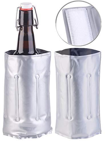 infactory Kühlmanschette Wein: 2er-Set Flaschenkühler, für Ø 75-80 mm, Kühl- & Wärme-Gel (Sekt-Wein-Kühlmanschette)