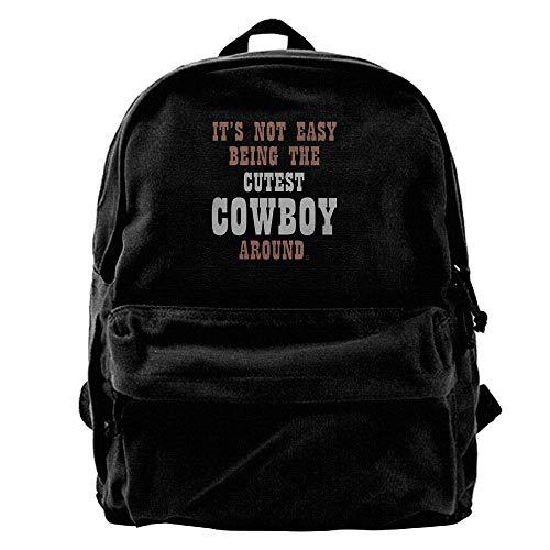 HOJJP Mochila escolar Easy Being The Cutest Cowboy Around Fashion Canvas Shoulder Backpack Men & Women Teens Travel