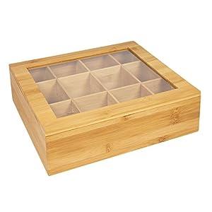 Boîte Woodluv en bambou durable pour organiser et ranger les sachets de thé, 12 compartiments