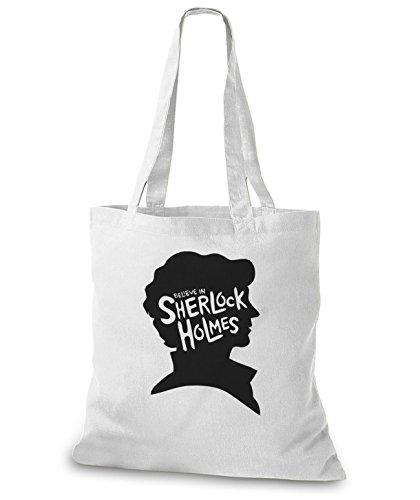 StyloBags Jutebeutel / Tasche I believe in Sherlock Holmes Weiß