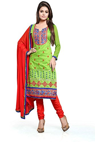 Khushali Women Chanderi Unstitched Salwar Suit (Light Green)  available at amazon for Rs.828