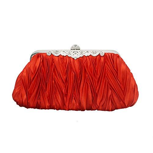Kupchak Abend Geschenk Kosmetiktasche Party Dinner Paket Strass Abend Geschenk Make-up Tasche Knödel Tasche Plissee Verpackung Entladen Kette Tasche Rot - Elfenbein-abend-handtasche