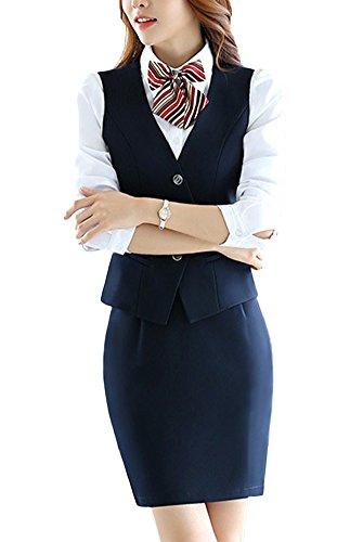 SK Studio Femmes Gilet Vestes De Tailleur Jupe De Bureau 2 Pièces Bouton Gilet Tailleur Costume Manteau SK Studio