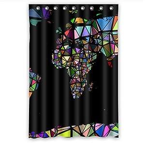 Personal Custom cortina de ducha de mapa del mundo poliéster 120cm x 183cm