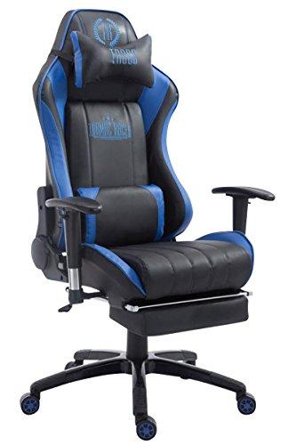 Racing–Silla de oficina Drift con reposapiés negro/azul