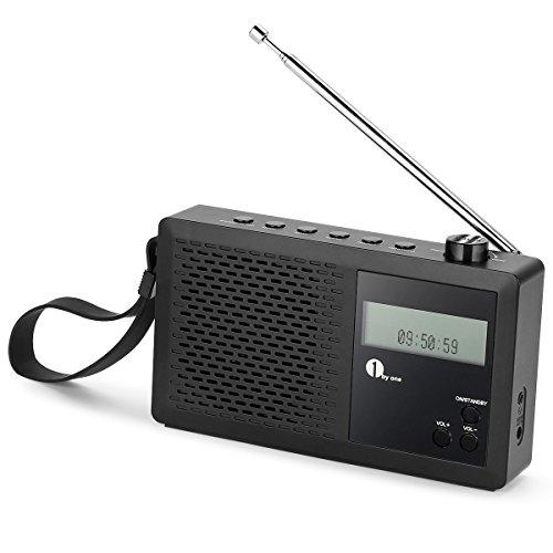 1byone Tragbares Digitalradio, DAB / DAB+ / FM Radio mit LCD Display, Favoritenspeicher und Kopfhöreranschluss, Wecker, Schwarz