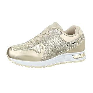 Ital-Design Damenschuhe Freizeitschuhe Sneakers Low Synthetik Gold Gr. 39