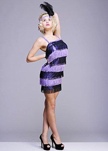 Ladies Purple Fringed 1920er Flapper Girl Kostüm Small (UK 8-10)