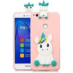 HopMore Funda Huawei P8 Lite 2017 Silicona Motivo 3D Divertidas TPU Gel Kawaii Ultrafina Slim Case Antigolpes Caso Protección Flexible Cover Design Gracioso - Rosa Unicornio