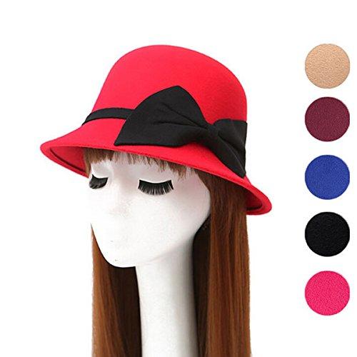 Butterme Vintage Cloche Kappen Eimer Hüte Runde Bowler Hat Fedora Derby Hüte mit großen Bogen für Frauen Damen (Rot Derby Hut)